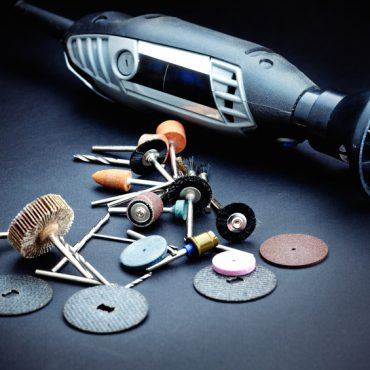 Rotary tools with accessory over dark